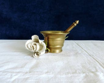 Vintage French brass pestle and mortar