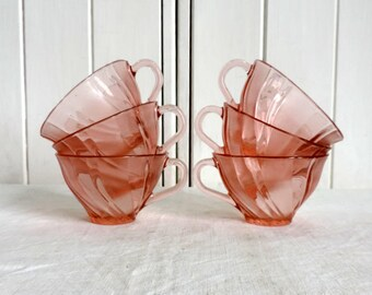 Vereco Beau Rivage tea or coffee cups, pink glass, set of 6