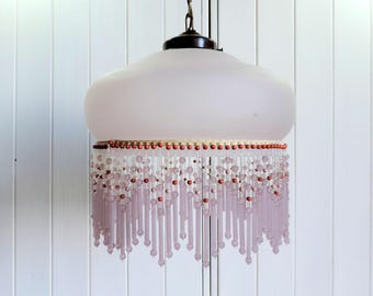 Beaded frosted pink glass ceiling light, pendant light, 1930s Art Deco lampshade, vintage french home decor, retro interior design