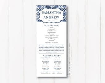 classic, elegant wedding program, ceremony program, wedding ceremony, wedding party, bridal party, signage, PRINTABLE or PRINTED PROGRAMS