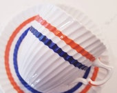 Vintage Tea Cup and Saucer /ROYAL ALBERT Bone China  Vintage Tea Party / Collectible/ 70s theme/ Orange and Blue Stripe