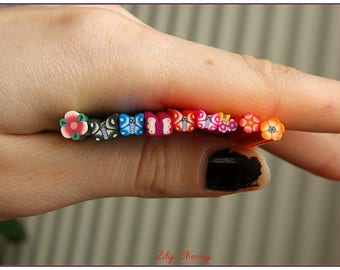 x 9 Cane polymer clay millefiori flowers and butterflies multicolor kawaii 5cm