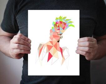 Cockatoo Art, Tropical Bird Print, Tropical Wall Art, Parrot Print, Minimalist Print Modern Design Exotic, Geometric Bird B81 Salmon-crested