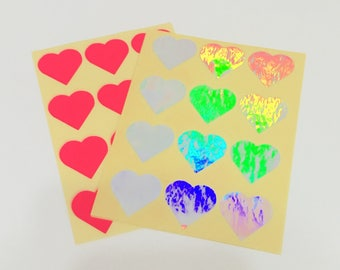 Heart Shaped Stickers, Holographic Stickers, Heart Stickers, Hot Pink Heart Stickers, Packaging Stickers