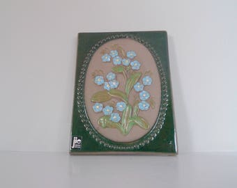 Beautiful JIE Gantofta Ceramic - Vintage Swedish Plaque -  Forgetmenot flower Wall Hanging Design by Aimo