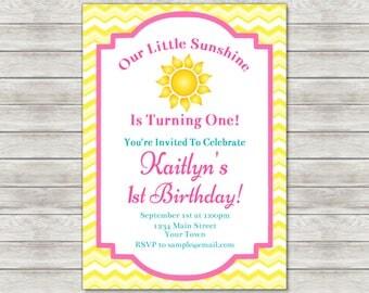 Sunshine Birthday Invitation, Sun Sunshine 1st Birthday Invite - Printable File or Printed Invitations