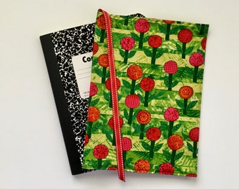 Floral Journal Cover, Red Journal Cover, Floral Composition Notebook Cover, Fabric Journal Cover