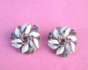 Vintage Lisner Flower Clip On Earrings White Enamel with Rose, Light Sapphire and Peridot Rhinestones