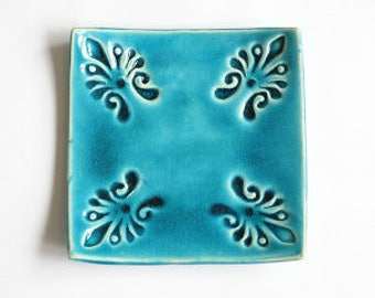 square ring dish, blue small ceramic jewelry plate with pattern, gift idea for her, embosed pattern, keys holder, housewarming gift