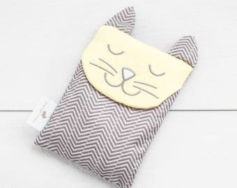 Lavender, Boo boo bag, baby care, hot bottle, cat, unisexe nursery, baby gift, baby shower, rice bag, hot cold therapy, christening, shower,