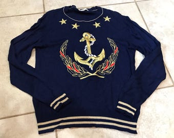 Vintage 90's Liz Claiborne Nautical Anchor Sweater S preppy cruise