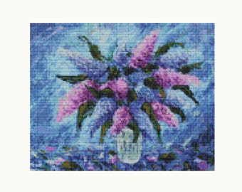 Cross Stitch Kit Purple Fiesta, Floral Cross Stitch, Embroidery Kit, Needlework DIY Kit (ART031)