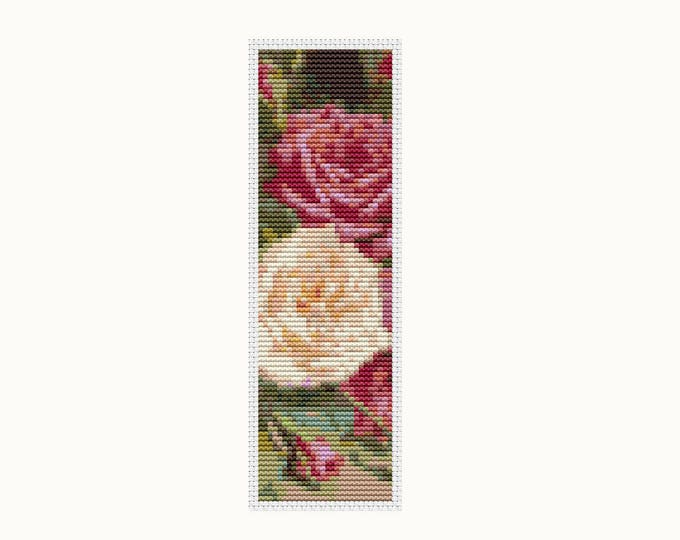 Bookmark Cross Stitch Pattern PDF, Embroidery Chart, Art Cross Stitch, Roses Bookmark (BK34)