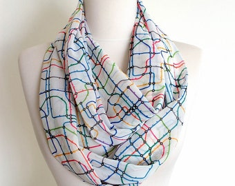 Tube Map Infinity Scarf Circle Scarf Scarves Spring Fall Winter Summer Fashion