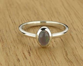0.36ct Semi-Black Opal Ring in 925 Sterling Silver Size 4.5 SKU: 1979B029-925