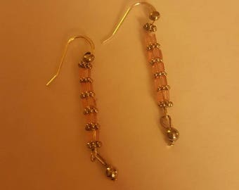 Pink and silver beaded earings