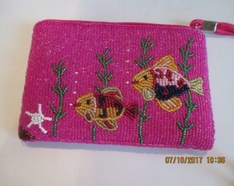 Beaded Purse or pouch with Fish Design ~ Pink