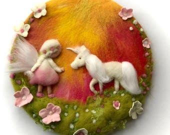 Fairy and Unicorn.Wool painting, Picture,tapestry,Wet felted,Needle Felted. Waldorf