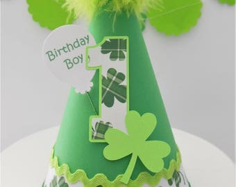 St. Patrick's Day Birthday Party Hat - St Patrick's Day - Green, Lime, White - Personalized