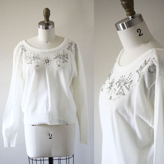 1970s white beaded sweater // vintage sportswear // vintage womens