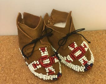 Vintage Native American Leather Beaded Doll Moccasins