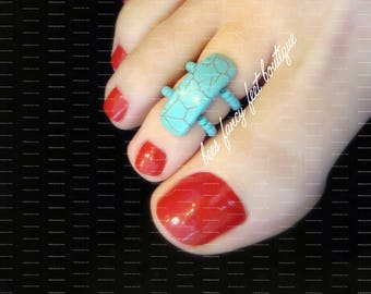 Toe Ring | Crackle Turquoise Stone | Stretch Bead Toe Ring