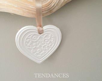 Heart floral ceramic 8.5 x 8cm