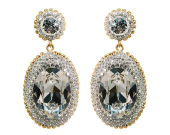 Oval Big Silver Earrings