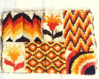 1970s Latch Hook Rug Vintage 1970s Latch Hook Rug Wall Hanging Vintage 70s Home Decor Desert Tones Boho Hippie Yellows Browns Oranges Cream