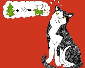 Naughty christmas cat
