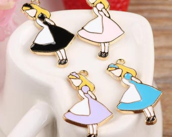 8 charms enamel pendant girl alice mixed color