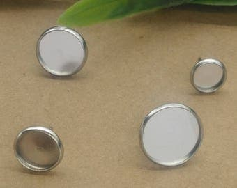 100 support Rod earring cabochon 14mm stainless steel metal