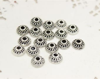 80 beads interclaire Cup caps in antique silver ethnic 8mm