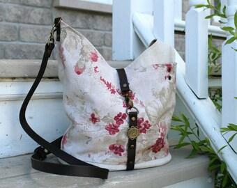 Linen crossbody bag - Roseline / Leather strap
