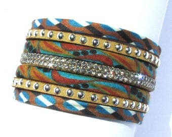 Cuff Bracelet, fabric cord, suede, Strass, turquoise and Brown