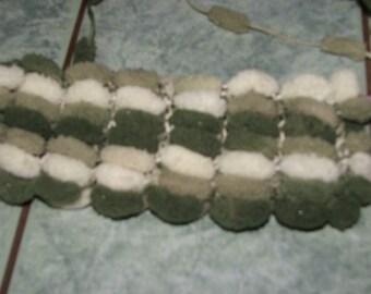 Double cover tassels reversible - color white/green light and dark green - 100% polyester - handmade