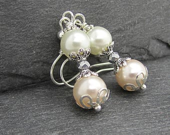 Peach Pearl Bridesmaid Earrings, Peach Bridesmaid Jewellery, Pearl Wedding Sets, Peach and Ivory Weddings, Bridal Party Gifts, Pearl Drops