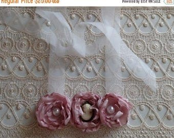 July Sale Handmade Pink Cameo Fabric Flower Statement Bib Necklace Vintage Lace Accessories