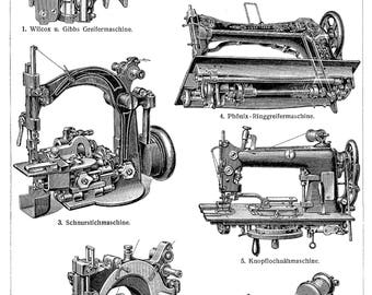 Vintage Drawing Print various sewing machines models