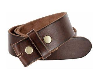 Dark Brown Genuine Leather Belt Strap - 1.5 inch - Snap Leather Belt For Belt Buckles - Gift Ideas for Him - Guys