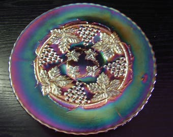 Antique Fenton Carnival Glass Electric Amethyst Grape and Cable Plate