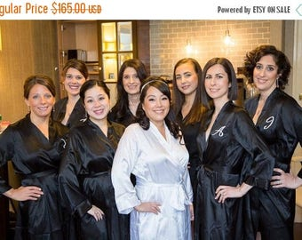 ON SALE Set of 5 Robes, Custom Embroidered Monogrammed Robe, Personalized Title and Monogram Robe. Bridesmaid gifts and Bridal Robes.