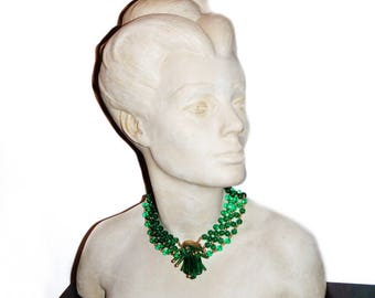 1940's Necklace Blown Green Glass Multi Strand Choker - Cleopatra Style - Bold Statement - High Fashion - Hollywood Regency Vintage Jewelry