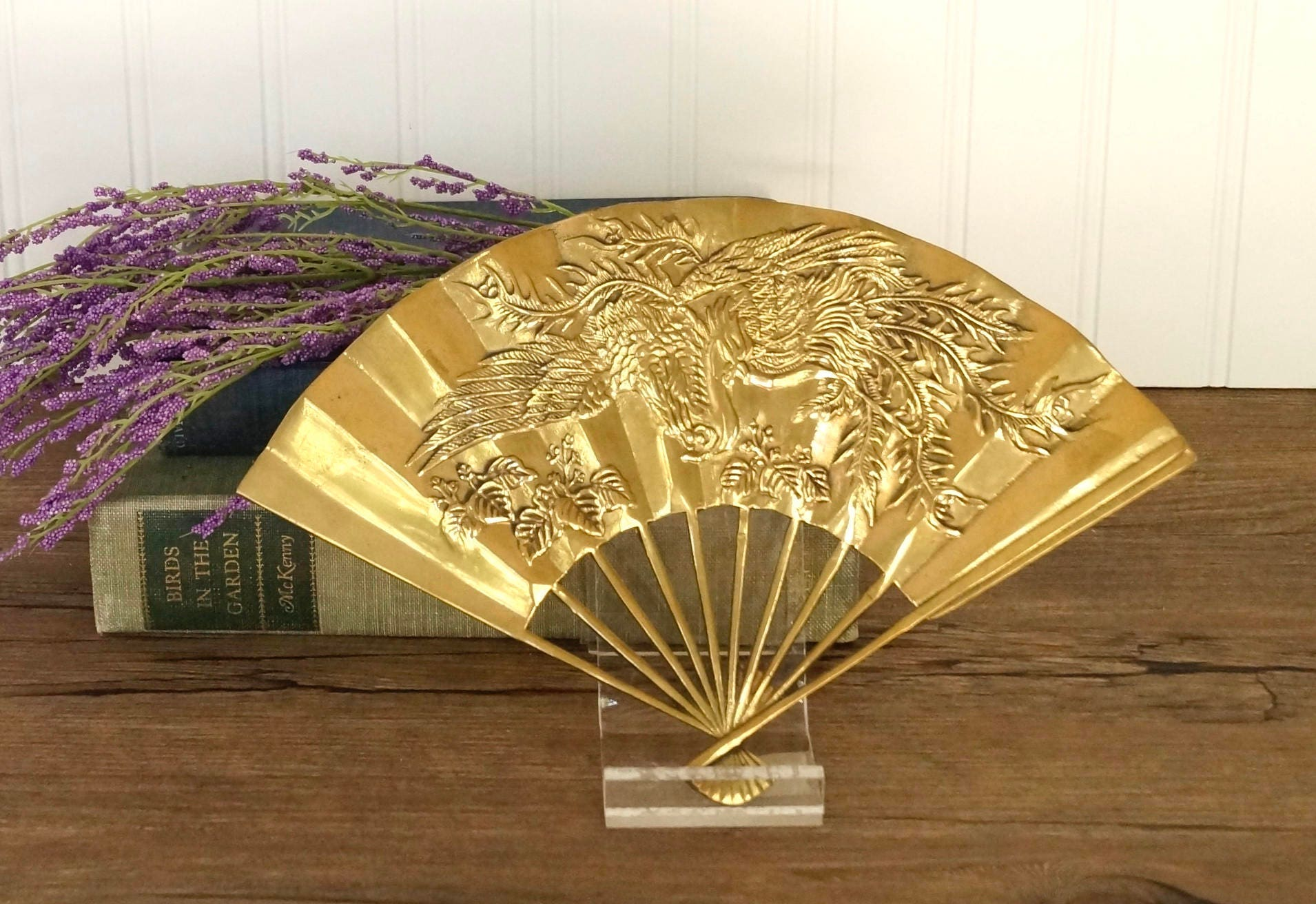 vintage brass fan embossed birds leaves wall hanging ...