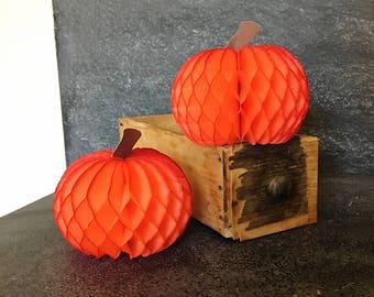 Vintage Honeycomb  Pumpkins - Orange Fall Pumpkins - Halloween Decorations - Mid century Danish decorations
