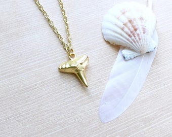 Shark Tooth Necklace in Gold
