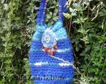 Sac bohème-sac bandoulière bohème-sac crochet laine bleu fait-main-sac à main fait-main coralie-zabo-boheme