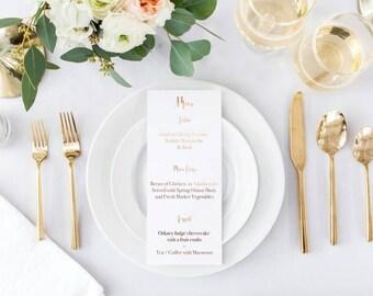 Foil menu spiro font wedding menu tableware