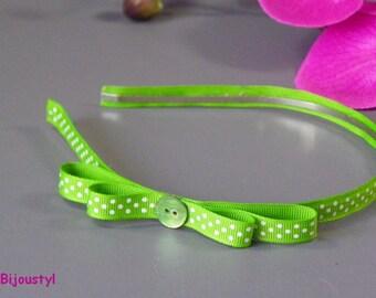 "Headband ""Poplin"" Green Ribbon with white dots with bow"