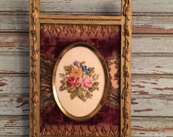 Antique Victorian gesso and velvet frame